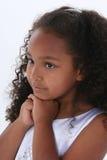 Menina bonita dos anos de idade seis sobre o branco Fotografia de Stock Royalty Free