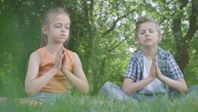 Menina bonita e o menino considerável que senta-se em meditar da grama As crianças estão na ioga O desenvolvimento espiritual vídeos de arquivo