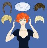 Menina bonita e um grupo de penteados Fotografia de Stock