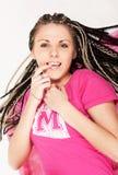 Menina bonita em cor-de-rosa olhando o Imagem de Stock Royalty Free