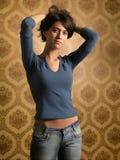 Menina bonita em papéis de parede Fotos de Stock Royalty Free