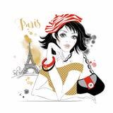 Menina bonita em Paris Modelo da beleza Torre Eiffel gráficos watercolor Vetor ilustração stock