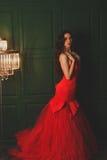 Menina bonita em um escarlate do vestido Imagens de Stock Royalty Free
