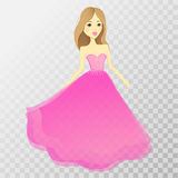 Menina bonita em um vestido Caráter do vetor com um transp ilustração do vetor