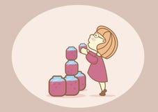 Menina bonita em um vestido curto que tenta obter um frasco do doce Foto de Stock