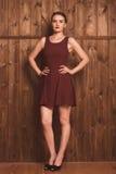 Menina bonita em um vestido de Borgonha Foto de Stock Royalty Free