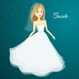 Menina bonita em um vestido de casamento Noiva dos desenhos animados do vetor casamento ilustração stock