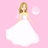 Menina bonita em um vestido de casamento Noiva dos desenhos animados do vetor casamento ilustração do vetor