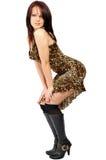 Menina bonita em um vestido selvagem-colorido Fotos de Stock