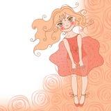 Menina bonita em um vestido vermelho em um fundo de r Fotografia de Stock