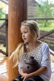 Menina bonita em uma camisa fotos de stock royalty free