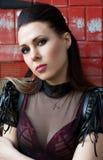 Menina bonita em uma fábrica abandonada Imagens de Stock Royalty Free