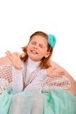 Menina bonita emocional com gás fechado na imagens de stock