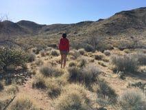 A menina bonita está andando no deserto do Arizona no meio-dia fotos de stock royalty free