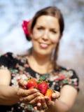 A menina bonita está dando-lhe morangos durante um dia ensolarado Foto de Stock