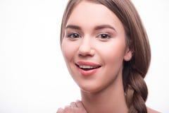 A menina bonita expressa emoções diferentes Imagem de Stock
