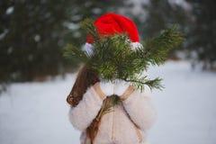 Menina bonita feliz pequena na floresta do inverno imagem de stock royalty free