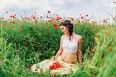 Menina bonita grávida no campo Fotografia de Stock