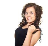 A menina bonita mostra o polegar de sua mão esquerda deixada Imagens de Stock Royalty Free