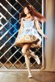 Menina bonita muito delicada no estilo de uma dança do anime fotos de stock