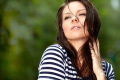 Menina bonita na chuva Imagens de Stock