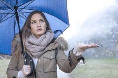 Menina bonita na chuva Foto de Stock Royalty Free