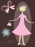 Menina bonita na cor-de-rosa ilustração royalty free