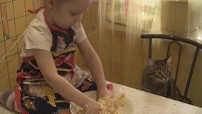 A menina bonita na cozinha amassa a massa com suas mãos, gato seguido filme