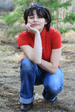 Menina bonita na floresta da mola Foto de Stock Royalty Free