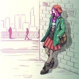 Menina bonita na ilustração do estilo do grunge imagem de stock