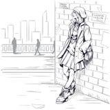 Menina bonita na ilustração do estilo do grunge imagens de stock