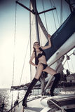 Menina bonita na imagem do pirata Foto de Stock