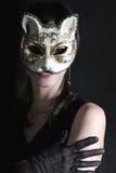 Menina bonita na máscara Foto de Stock Royalty Free