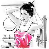 Menina bonita na parte superior sensual após ter banhado a fixação seus hairdress ilustração stock
