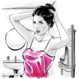Menina bonita na parte superior sensual após ter banhado a fixação seus hairdress, ilustração a mão livre da forma ilustração do vetor