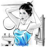 Menina bonita na parte superior sensual após ter banhado a fixação seus hairdress, ilustração a mão livre da forma ilustração royalty free