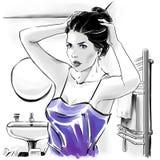 Menina bonita na parte superior sensual ap?s ter banhado a fixa??o seus hairdress, ilustra??o da forma ilustração do vetor