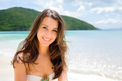 Menina bonita na praia Imagem de Stock Royalty Free