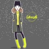 Menina bonita na roupa de outono-inverno ilustração royalty free