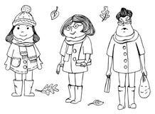 Menina bonita na roupa de outono-inverno Mão desenhada ilustração royalty free