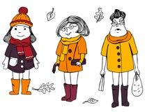 Menina bonita na roupa de outono-inverno Mão desenhada ilustração stock