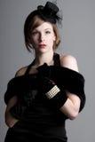 Menina bonita na roupa do estilo do vintage fotografia de stock royalty free