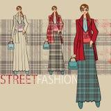 Menina bonita na saia longa Conjunto das opções Ilustração da forma Fotos de Stock Royalty Free