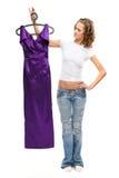A menina bonita nas calças de brim Imagens de Stock Royalty Free