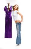 A menina bonita nas calças de brim Fotos de Stock Royalty Free