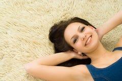 Menina bonita no azul Imagem de Stock Royalty Free