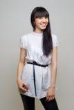 Menina bonita no branco Fotos de Stock Royalty Free
