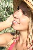 Menina bonita no chapéu Imagens de Stock