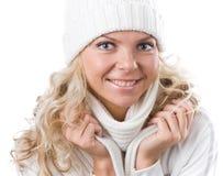 Menina bonita no chapéu do branco do inverno Imagens de Stock Royalty Free