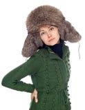 Menina bonita no chapéu forrado a pele imagens de stock